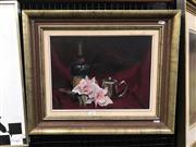 Sale 8981 - Lot 2003 - Marjorie Partridge? Still Life with Wine and Silver Coffee Jug oil on canvas, 47 x 57cm (frame) signed