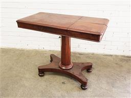 Sale 9126 - Lot 1210 - Victorian Mahogany Reading Table, by Jones & Co, with two reading slopes (stamped to top of..) on gun barrel pedestal with quadrafor...