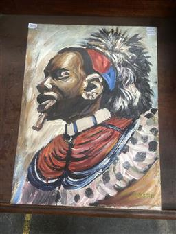 Sale 9094 - Lot 2086 - Artist Unknown (Mgaston) African Ceremonial Warrior oil on canvas 50 x 37.5cm, signed