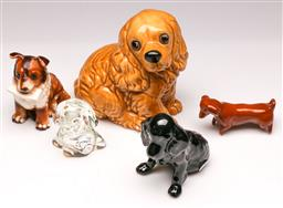 Sale 9107 - Lot 56 - A Collection of 5 Dog Figures inc Ceramic and An Art Glass Paperweight Example (Tallest H 17cm Smallest H 9cm)