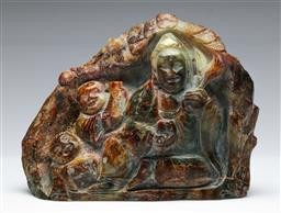Sale 9164 - Lot 389 - Chinese soapstone figure (W:20cm) and a carved timber monkey (H:26cm)