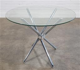 Sale 9188 - Lot 1673 - Glass top occasional table over chrome base (h:75 x d:90cm)