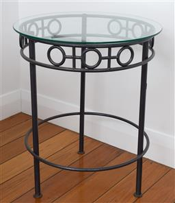Sale 9191H - Lot 89 - Pair of Iron base glass top circular side tables, H 68 x D 56 cm