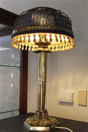 Sale 7977 - Lot 92 - Victorian Brass Banquet Lamp Converted to Electric with Later Shade