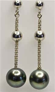 Sale 8036A - Lot 348 - A PAIR TAHITIAN PEARL EARRINGS; 9mm round fine quality cultured pearls suspended from silver chain and bead line drops.