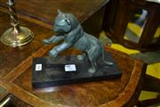 Sale 8093 - Lot 1809 - Art Deco Bronze Panther On Marble Base