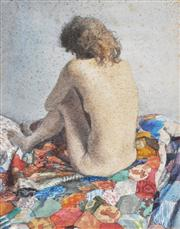 Sale 8235A - Lot 98 - Robert Sawyers (1923 - 2002) (British) - Nude On The Patchwork 21 x 16.5cm