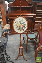 Sale 8267 - Lot 1007 - Georgian Style Satinwood Pole Screen, with modern tapestry panel, on three outswept legs (one repaired with small loss)