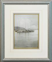 Sale 8282A - Lot 3 - Peter Fennell (1949 - ) - Moorings, Mosman Bay 34 x 24cm