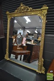 Sale 8291 - Lot 1013 - Late Victorian Gilt & Moulded Gesso Overmantle Mirror, with husk & laurel wreath border, surmounted by a pierced scroll