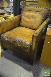 Sale 8305 - Lot 1038 - Brown Leather Square Form Armchair