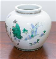 Sale 8308A - Lot 77 - A Chinese famille verte pot, figural motif, K'ang Hsi marks to base, H 17cm