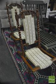 Sale 8326 - Lot 1374 - Pair Of Folding timber chairs In Regency Upholstery