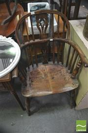 Sale 8347 - Lot 1043 - 19th Century Yew & Elm Windsor Armchair, with pierced splat & crinoline stretcher (cut in half & re-jointed)