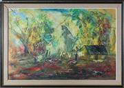 Sale 8375A - Lot 123 - N. Frith - Cabin with Clothesline 59 x 89 cm