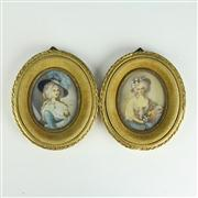 Sale 8393B - Lot 42 - Miniature Portraits of Ladies