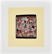Sale 8413A - Lot 5049 - Marrnyula Munuggurr (1964 - ) - Untitled (Hunting) 24 x 20.5cm (frame size: 54 x 51.5cm)