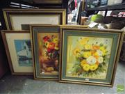 Sale 8407T - Lot 2074 - Group of Assorted Artworks (4) Including Framed Decorative Print After Sali Herman, Pair of Still Life Paintings & Hologram, framed, va