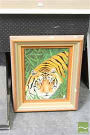 Sale 8468 - Lot 2025 - Rod Comish (XX) Crouching Tiger, acrylic on canvas, 40 x 30cm, signed lower right