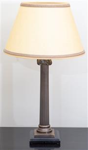 Sale 8562A - Lot 168 - A pair of bronzed Ionic column table lamps with cream shades, total H 65cm