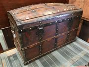 Sale 8666 - Lot 1059 - Antique French Dome Topped Trunk, with timber & iron strapwork