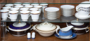Sale 8677B - Lot 654 - A Noritake cup and saucer setting in the Toorak blue pattern together with sundry tureens and gravy boats.