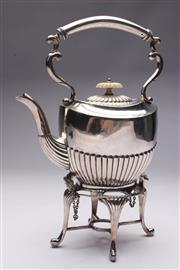 Sale 8694 - Lot 31 - An Edwardian Silver-Plated Kettle on Stand with Ivory Finial