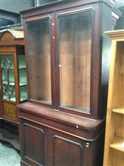 Sale 8740 - Lot 1668 - Victorian Mahogany Bookcase, with two arched glass panel doors, long drawer & two timber panel doors (key in office)