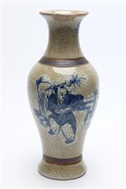 Sale 8732W - Lot 89 - Crackle Glaze Small Chinese Vase Depicting Flowers H:25cm