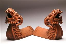 Sale 9122 - Lot 113 - Pair of Chinese Terracotta Dragon Themed Finials (L:40cm)
