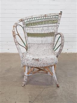 Sale 9151 - Lot 1460 - Painted seagrass chair (a/f) (h86 x d32cm)