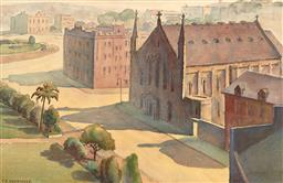 Sale 9244 - Lot 591 - FRANK RODRIGUEZ (1884 - 1967) Church Hill, Sydney Cove, 1911 watercolour 32.5 x 50 cm (frame: 56 x 72 x 3 cm) signed and dated lower...