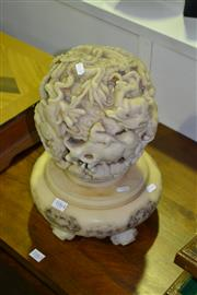 Sale 8013 - Lot 1064 - Heavily Carved Composite Chinese Ball on Stand
