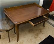 Sale 8205 - Lot 49 - A continental fruitwood Century Furniture writing desk with gallery back on tapered cabriole legs, H 84 x W 144 x D 92cm