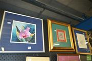 Sale 8250C - Lot 2064 - Three Gilt Framed Artworks Including a Lotus Abstract And Cat Tapestry