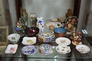 Sale 8360 - Lot 126 - Hand Painted Ceramic Flasks with Other Ceramics Incl Goebels Figures