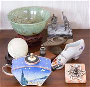 Sale 8369A - Lot 32 - A small group of wares including a ltd ed teapot marked C di V, an alabaster egg, an Aladdin lamp, a green bowl etc