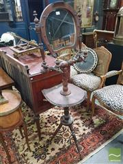 Sale 8539 - Lot 1004 - Late 19th Century Turned Shaving Stand, with horse-shoe shaped mirror & shelf, adjustable sconces & two small drawers