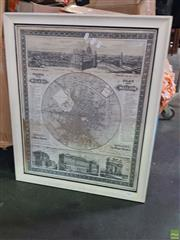 Sale 8619 - Lot 2086 - Framed Reproduction Map Showing a Town Plan for Milan in German and Italian