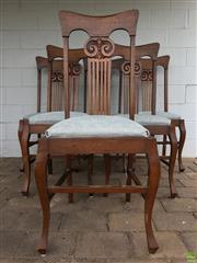 Sale 8649R - Lot 138 - Set of Six Ornately Carved Timber Chairs with Fleur De Lys Back and Fabric Upholstered Cushions (H: 109cm)