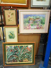 Sale 8659 - Lot 2146 - 3 Works: Helen Power - Garden View, 1984, mixed media on paper, plus 2 botanical prints, framed and various sizes