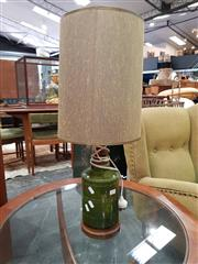 Sale 8741 - Lot 1055 - Vintage Pottery Table Lamp with Green Glaze