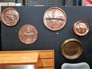 Sale 8822 - Lot 1003 - Collection of Five Large Antique Copper Saucepan Lids incl. Brass Example