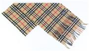 Sale 8837 - Lot 369 - A VINTAGE BURBERRYS OF LONDON CASHMERE NOVA CHECK SCARF; with label, 30 x 144cm with fringe.