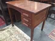 Sale 8839 - Lot 1351 - Timber Kneehole Desk with Three Drawers