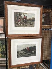 Sale 8850 - Lot 2042 - Pair of Hand-Coloured Hunting Scene Plates, after Sheldon Williams, published by JP McQueen, 98.5 x 80cm