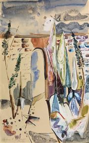 Sale 8953 - Lot 2033 - Barbara Blakemore-Fowler Tuscan Courtyard mixed media on paper (unframed) 45.5 x 29.5cm, signed lower left