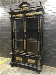 Sale 9014 - Lot 1014 - Good French Renaissance Style Ebonised & Inlaid Display Cabinet, with silhouette cut designs of arabesques & figures (H:235 x W:125...