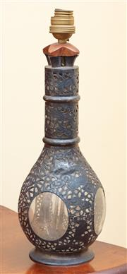 Sale 9055H - Lot 75 - A French glass bottle later encased in Chinese silver pierced dragon and bamboo decorated sleeve, converted to an electric lamp. H:37cm