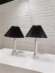 Sale 9059 - Lot 1005 - Pair of Italian Carrera Marble Table Lamps - 2100 (h:55cm)